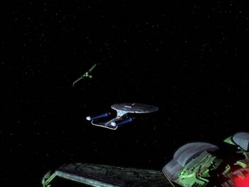 Lurin's Bird-of-Prey and a sister ship attack the USS <i>Enterprise</i>-D