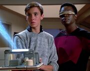 Wesley, La Forge and tractor beam