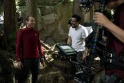 Simon Pegg and Justin Lin between takes