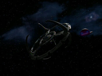 A Ferengi vessel approaches Empok Nor in 2374