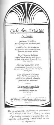 Cafe des artistes menu