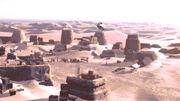 Fähre landet in der Wüste von Cygniai