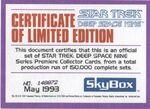 Star Trek Deep Space Nine - Series Premiere Limited Edition Certificate