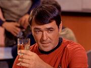 Montgomery Scott enjoying a glass of Scotch