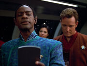 Tuvok reading the traditional salutation