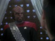 Worf berichtet von dem Unfall auf Gault