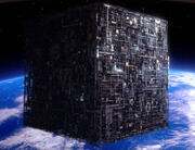 Borg cube orbits Earth, remastered