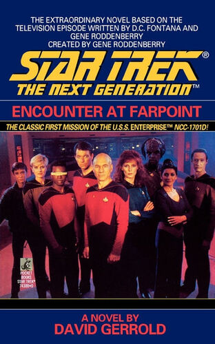 Cover of the novelization of <i>Encounter at Farpoint</i>