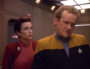 Kira Nerys and Miles O'Brien, 2371