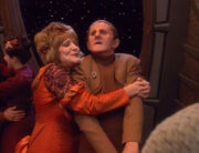 Lwaxana Troi and Odo dancing