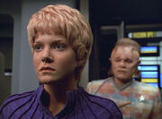 Kes and Neelix on the bridge, 2371