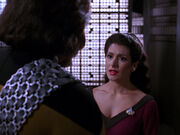 Worf and Troi talk about Aster