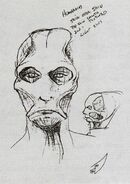 Alien with boney exoskeletal head, concept art