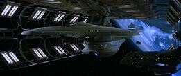 USS Enterprise-B in drydock
