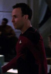 Command division crewmember in Ten Forward, 2366