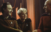 Brent Spiner, Denise Crosby, and Patrick Stewart