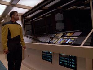 Geordi reflects as interface probe