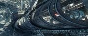 USS Enterprise in Starbase Yorktown's space lanes