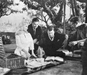 """Butler (second from right) on the set of """"The Cage"""""""