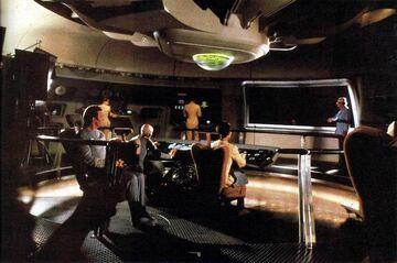 USS Enterprise revised bridge set during filming