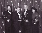 Art Codron, Dan Curry, Ron Moore and Liz Castro winning their Emmys in 2002