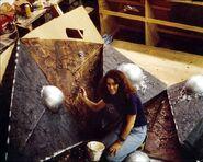 Lisa Morton working on the V'ger interior section models
