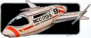 Eaves drawing of Matt Jefferies' shuttlecraft concept for Phase II