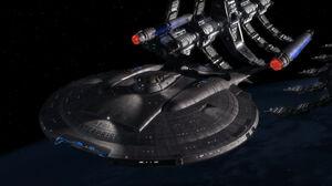 Enterprise (NX-01) leaving drydock