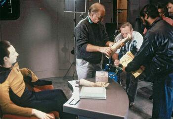 """Robert Scheerer directing <a href=""""/wiki/Jonathan_Frakes"""" title=""""Jonathan Frakes"""">Jonathan Frakes</a> and <a href=""""/wiki/Brent_Spiner"""" title=""""Brent Spiner"""">Brent Spiner</a> in <a href=""""/wiki/1988_(production)"""" title=""""1988 (production)"""">1988</a>"""