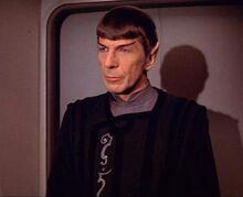 Spock arriving aboard the Enterprise