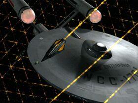 USS Enterprise and Tholian web - overhead, remastered