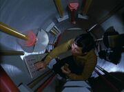 Hikaru Sulu inside Jefferies tube