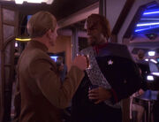 Odo and Worf in the replimat