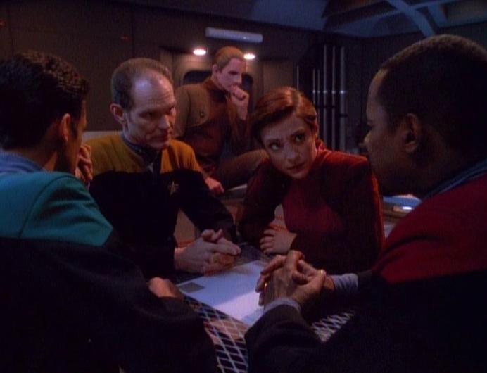 Bashir, Eddington, Odo, Kira, and Sisko