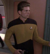 Security ensign in transporter room, 2369