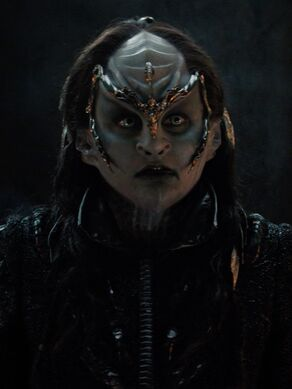 Chancellor L'Rell, a female Klingon, in 2257