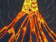 Volcano eruption on the mad planet