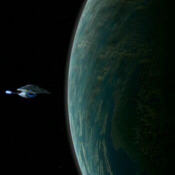 USS Voyager orbiting Sikaris