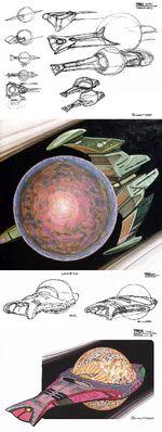 Tarellian starship design process by Andrew Probert