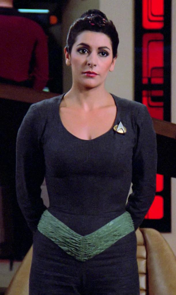 Costume Lovers — Deanna Troi's (Marina Sirtis) Blue/Green ... |Deanna Troi Green