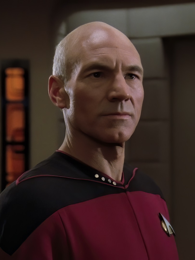 "Captain Jean-Luc Picard, commanding officer of the USS Enterprise (NCC-1701-D), standing on the bridge in 2364 (""Encounter at Farpoint"", Star Trek: The Next Generation)"