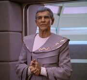 Sarek on the bridge of Enterprise-D