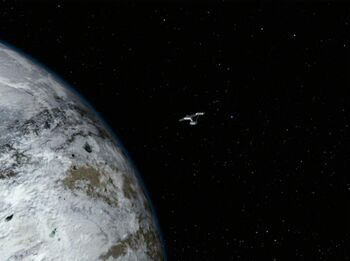 The USS Enterprise in orbit of Sigma Draconis VI
