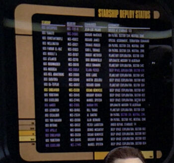 The <i>Endeavour</i> was listed on a starship deploy status, 2365
