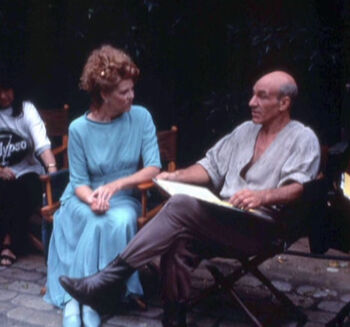 """Eggar and <a href=""""/wiki/Patrick_Stewart"""" title=""""Patrick Stewart"""">Patrick Stewart</a> filming """"Family""""."""