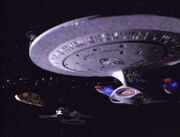 USS Enterprise-D at Qualor II