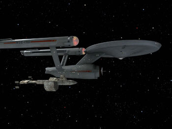 The USS <i>Enterprise</i> alongside the SS <i>Botany Bay</i>