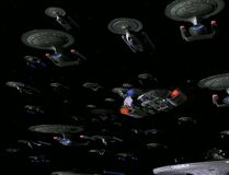 Federation fleet prepares to engage Xindi fleet