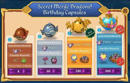 Secret Merge Dragons! Birthday Capsules shop