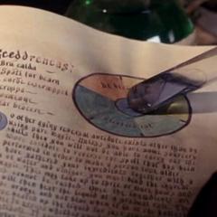 Gajusz przygotowuje antidotum na odwrócenie zaklęcia postarzającego z książki Gala.